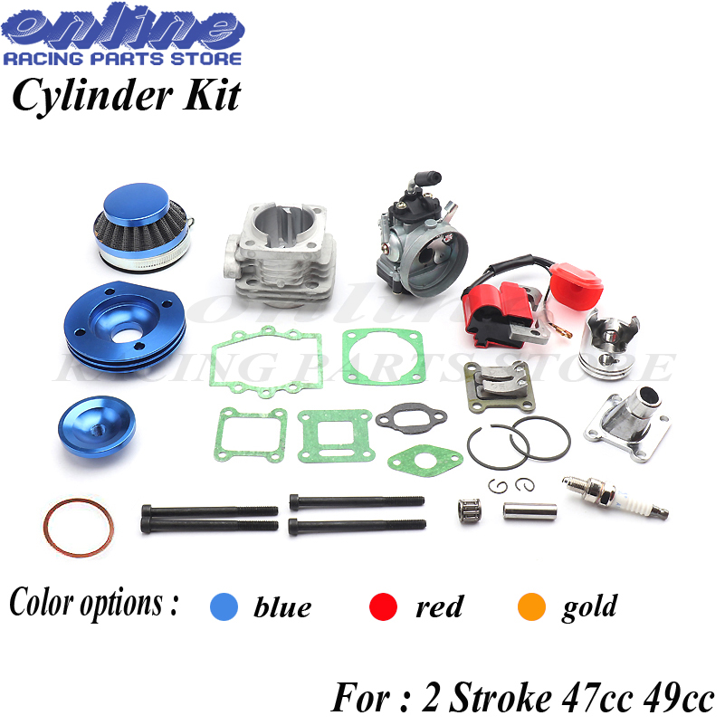 Cylinder Kit 19mm Carburetor Air Filter L7T Spark Plug Ignition Coil for 2 Stroke 47cc 49cc Pocket Bike Mini ATV Quad цена