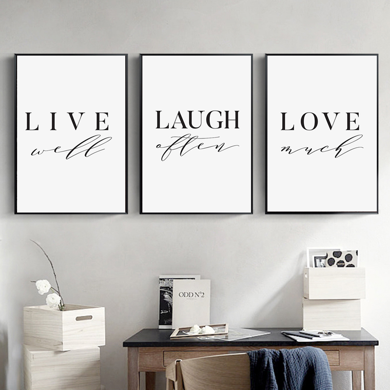 Minimalist Art Canvas Painting Live Laugh Love print Nursery Quote Poster  Modern Wall Art Nordic Decoration Pictures Home Decor|Painting &  Calligraphy| - AliExpress