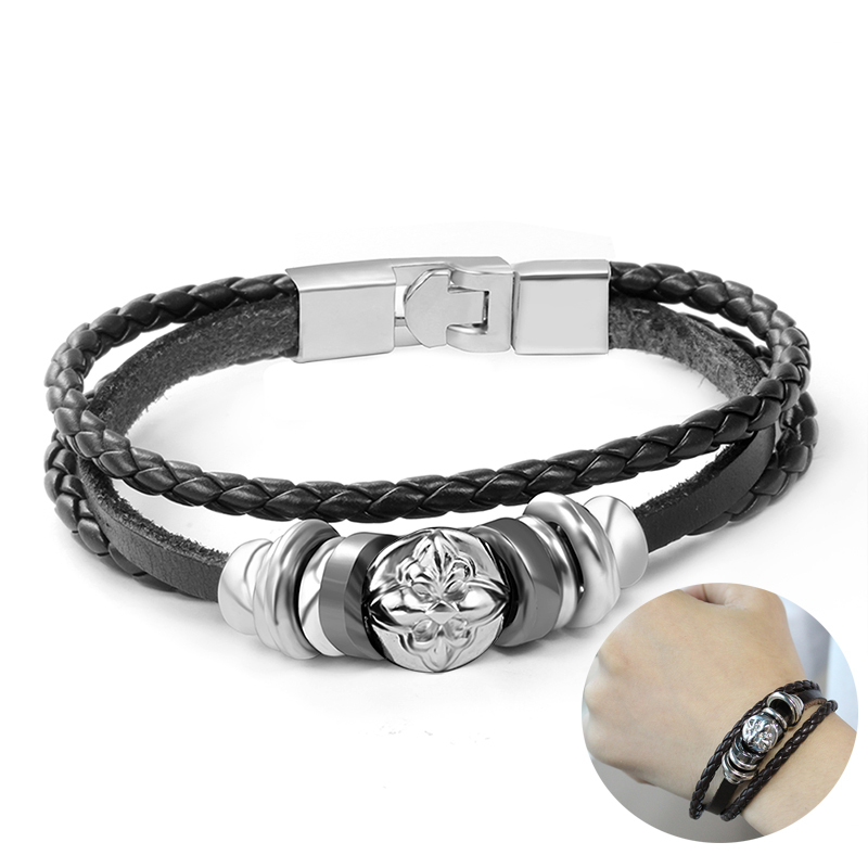 Vintage Triple Wrap Braided Leather Bracelet for Men Bangle Wristband Pulseira Braslet Armband Male Jewelry 8.6 inch
