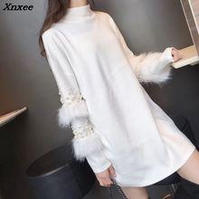 купить Autumn Winter Women Long Sweater 2018 New Half Turtleneck Pullover Loose Pearl Rabbit Long Sleeve Sweater Knit Tops Female W15 онлайн