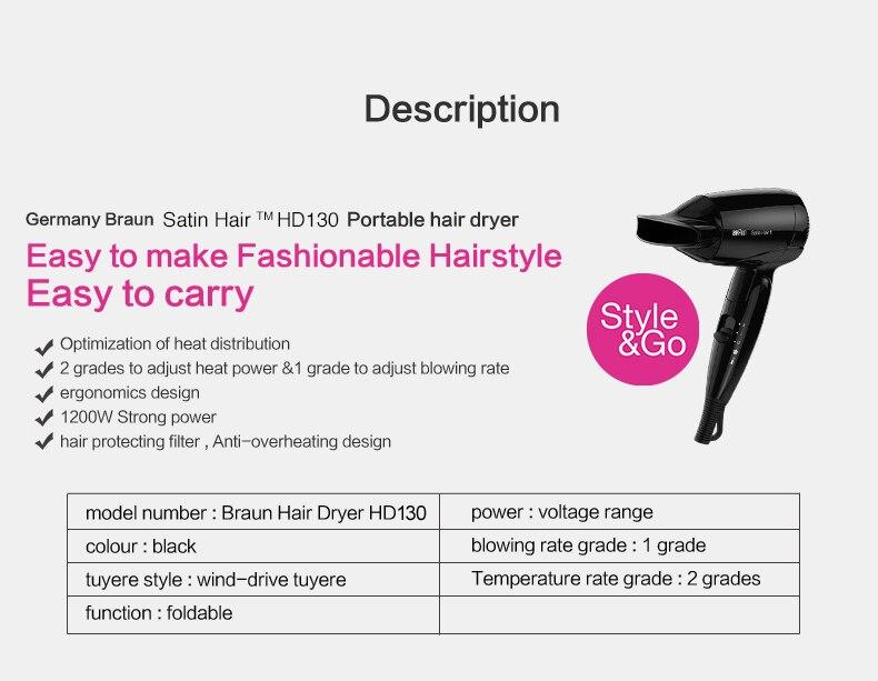 secagem rápida dobrável secador de cabelo