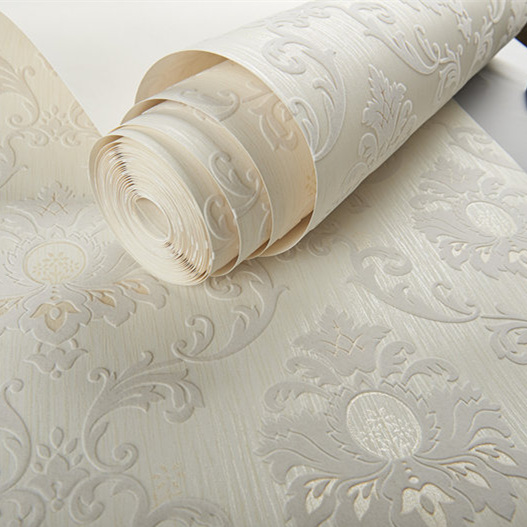 White and Silver Velvet Flocking Damask Wallpaper Roll Bedroom Decor купить недорого в Москве