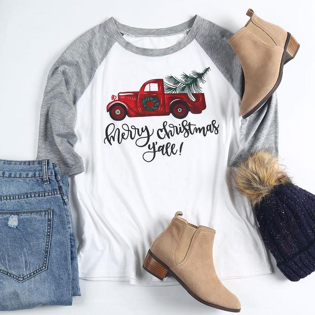 VIN Beauty Fashion 2018 Plus Size Women T Shirt Merry Christmas Y'all Baseball Tees Half Raglan Sleeve O-Neck White Casual Top