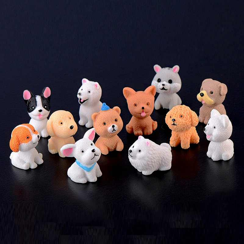 Mini size Puppy action Figures small dog Animal Model Miniature Figurine Fairy home Garden Wedding Doll Decoration Girl toy gift