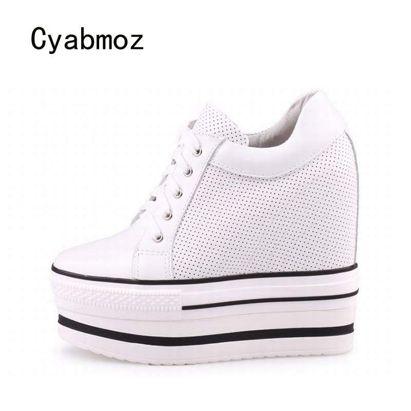 Cyabmoz New Women Shoes Woman Genuine leather Zapatillas deportivas Zapatos mujer Wedge Platform High heels Hollow Ladies Shoes цена и фото