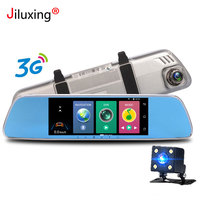 3G Car DVR 7 Touch screen Android 5.0 GPS WIFI car cameras rearview mirror car video recorder Bluetooth Dash Cam Dual Lens