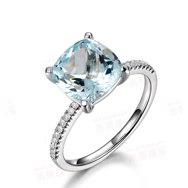 MYRAY Aquamarine Engagement Ring 8mm Cushion Cut Stone 14K