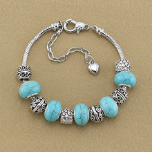 European Bracelet Luxury Jewelry Silver Chain Bracelets Turquoise Beads Antique Large Hole Charm