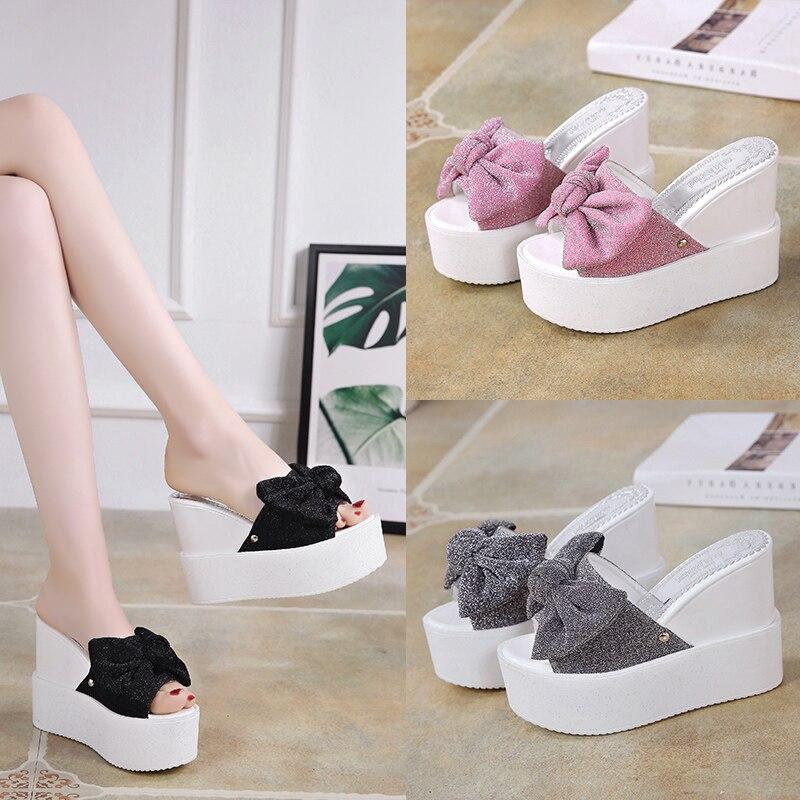 Talon Coréenne Cm Épais Porter rose Fond Noir Cheveux 12 Haute Mode gris Nouveau Pantoufles Super Éponge Été T0qR1E