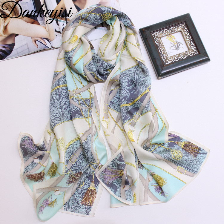 DANKEYISI Spring Autumn Silk   Scarf   Women   Wraps   Hot Sale Female Long   Scarf   Cape Fashion New Design Neck Silk   Scarf   Muffler