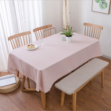 New Pink Plaid Tablecloth Fresh Pastoral Style Living Room Dining Table Desk Linen Rectangular Cover Home