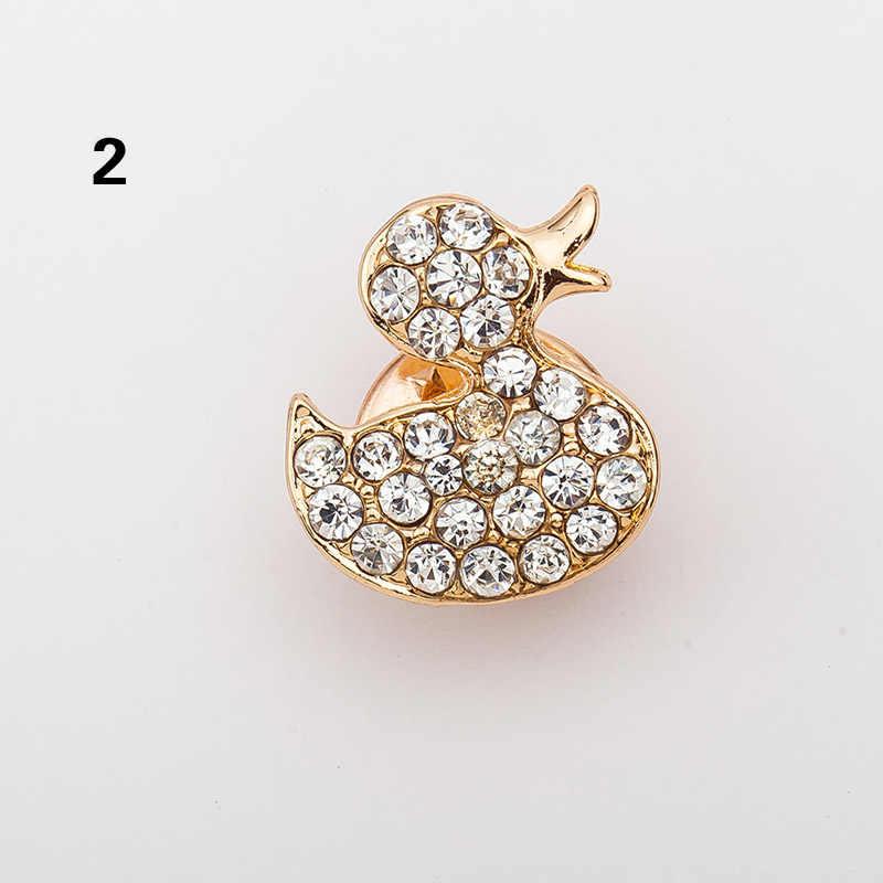 Lnrrabc Fashion Wanita Bros Berlian Imitasi Burung Hantu Cherry Syal Gesper Bros Pin Crystal Syal Sutra Aksesoris Jilbab Pin