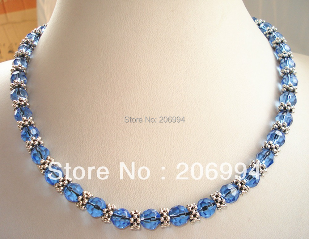 designer necklace 18 Genuine Blue glass Crystal Tibet Silver Bead
