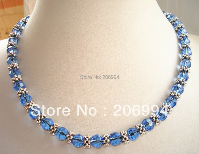 pin choker vintage out statement crystal blue zara glass necklace sold