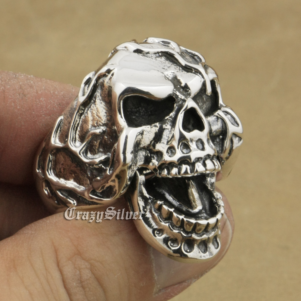 925 Sterling Silver Jaw Openable Skull Ring Mens Biker Punk Ring 9M020A US 7~15 925 sterling silver high details skull ring mens biker punk ring ta118a us 7 15