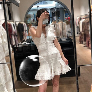New dress Spring Festival Lace   Stitching Closed waist Flying sleeve Fishtail Dress Short