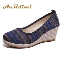 AARDIMI/Женская обувь на платформе из хлопчатобумажной ткани ручной работы в стиле ретро; женские туфли-лодочки без застежки в национальном стиле; женская обувь на высоком каблуке
