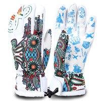 Winter Ski Gloves Waterproof Windproof Plate Women Professional Skiing Print Ski Gloves Women Warm Gloves