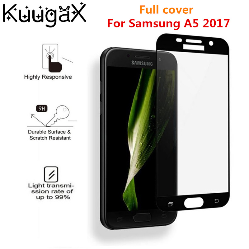 Screen protective all cover Tempered Glass 9H For 5.2 inch samsung A5 2017 samsung a52017 smartphone toughened display cases