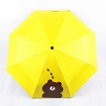 Clear Umbrella Bear Printed 3 Folding Sun Rain Outdoor Travel UV Protective Windproof Sunscreen Black Mens Gifts Z503