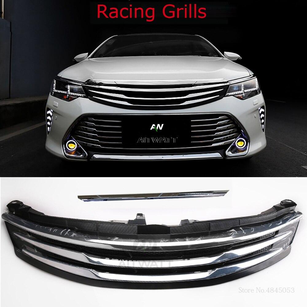 AITWATT pour Toyota Camry 2015 2016 2017 Auto ABS Chrome Grille modifier Grilles avant brillant Center maille Grilles voiture style