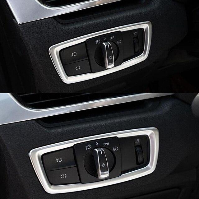 Auto voiture avant lampe frontale ajuster bouton de commutation cadre garniture couvre style autocollant adapté pour BMW X1 2016 accessoires intérieurs