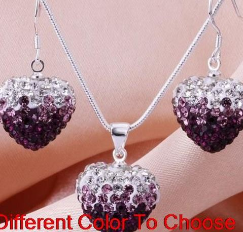 Jewelry & Accessories Lower Price with 2 Set/lot Multicolor Mixed Beads Gradient Heart Set Drop Earrings Necklace Pendant 16 Inch Snake Chains S5534 Latest Fashion