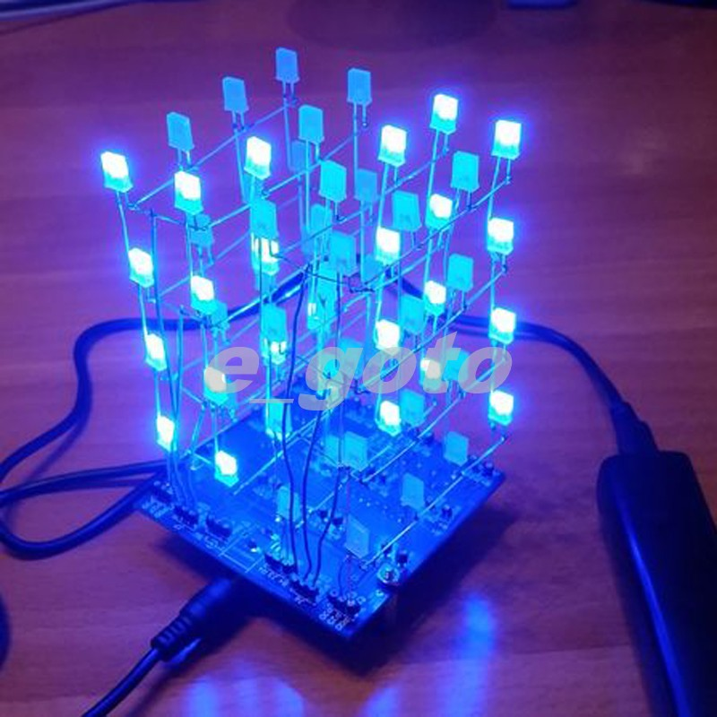 4*4*4 3D LED Light Squared Blanc Bleu Ray Cube 4x4x4 LED Cube DIY Kit Électronique Suite w/Programmé IC pour Arduino