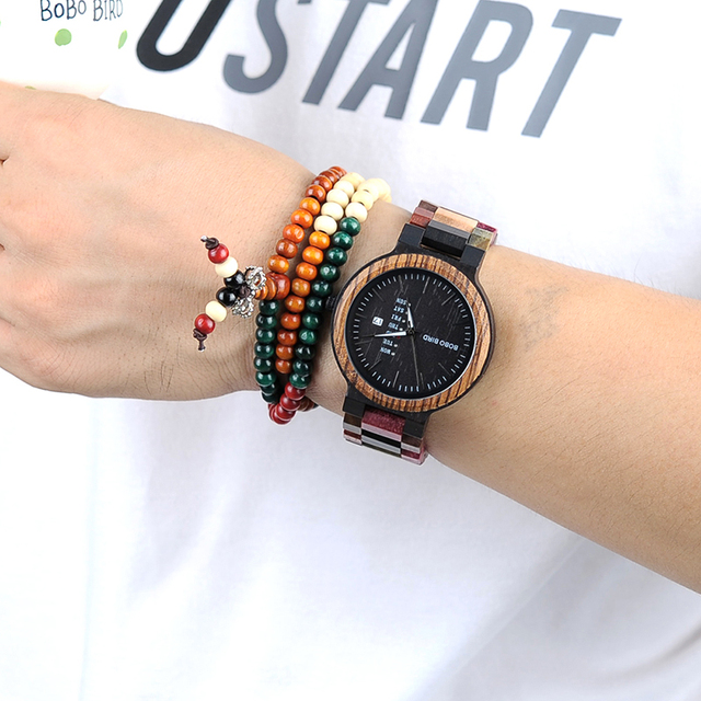 Bobo Bird Wooden Colorful Week Date Display Unisex Quartz Watches 5