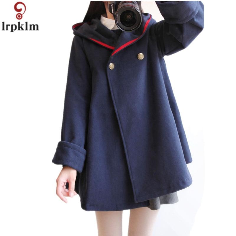 Girl Winter Lolita Cloak Overcoat Coat Cape Fur Hooded Casual  Loose Long Jacket