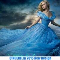 Newest Cinderella Princess Dress Cinderella Movie Cosplay adult cinderella costumes Movie Dress Disfraces Free Shipping