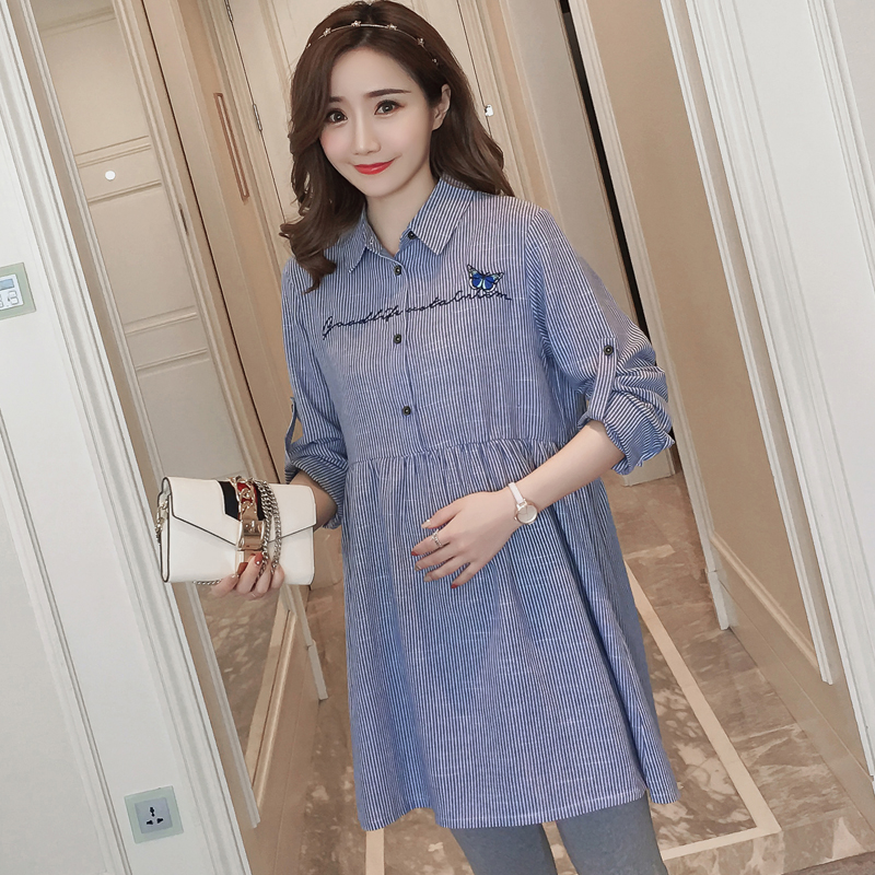 Maternity Clothing Flight Tracker 2823# Quality Striped Cotton Maternity Blouses 2018 Spring Fashion A Line Loose Clothes For Pregnant Women Pregnancy Shirts Tops To Invigorate Health Effectively Pregnancy & Maternity
