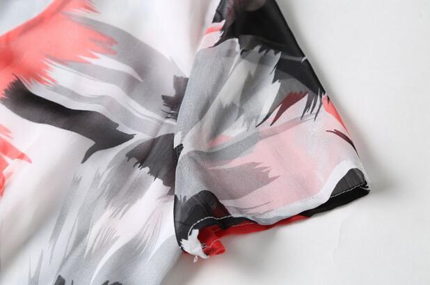 Mince Longueur L'automne Manches 2017 Étage Fleur Picture Courtes X longue Début Femmes As Robe Mode D'o Robes cou De Grande À Nouvelles xwSq8aw