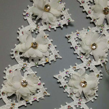 1 yard Heart Chiffon Flower Diamond Rhinestones African Lace Fabric 2018 High Quality Trim Embroidered Ribbon Sewing