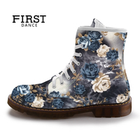 FIRST DANCE Women Martin Shoes Customized Female High Top Outdoor Walking Footwear 2017 New European Fashion