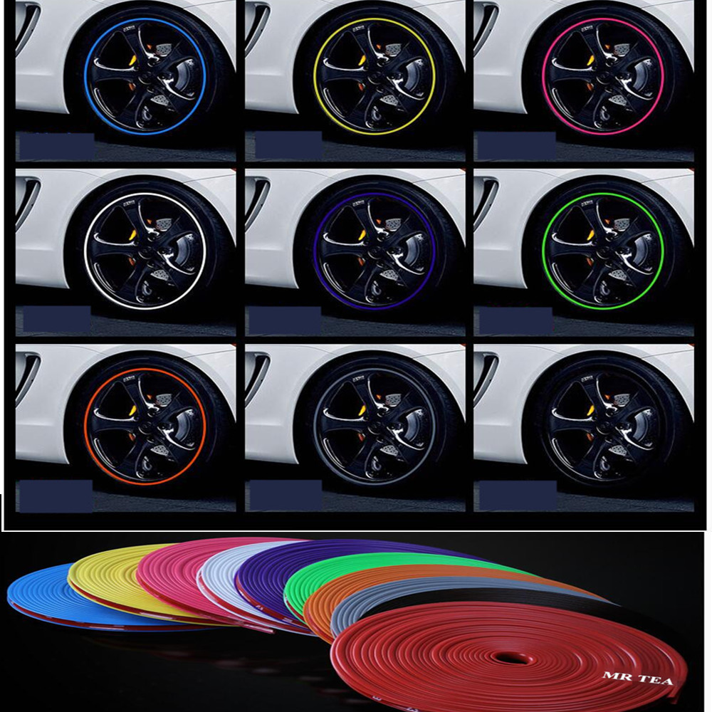 8M Car Wheel Hub Rim Edge Protector Ring Sticker Tire Guard Line Rubber Strip Wheel Hub Tire Mouldings Strips Car Styling