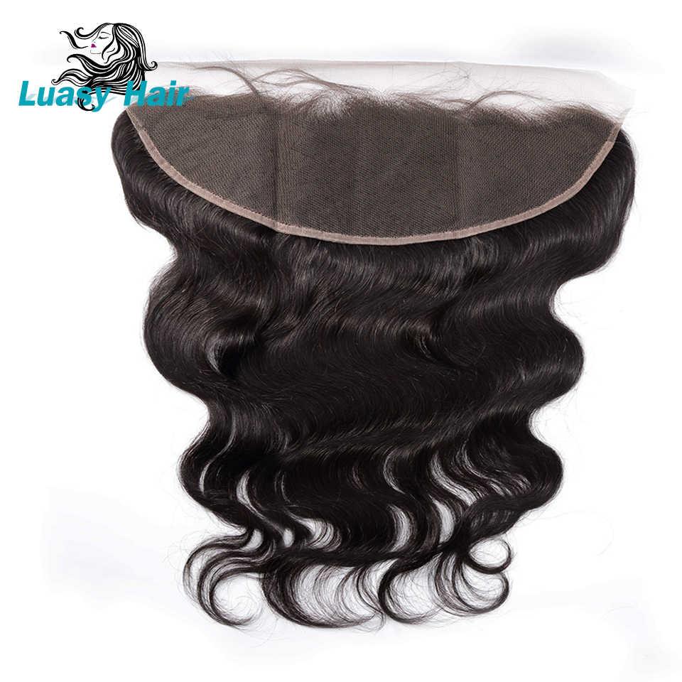 Luasy oreja a oreja encaje cierre Frontal 13X4 parte libre con pelo de bebé Pre desplumado onda brasileña del cuerpo cabello humano Remy cierre completo