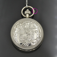 Silver Man Mechanical Pocket Watch Child On Cart Retro Vintage Classic Flower Ipg Platting Copper Brass Case Good Quality Hour