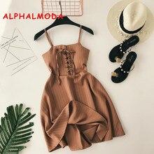 ALPHALMODA Women New Classic Striped Sling Dress Lacing Up High Waist Slim Fit Ladies A-line Vintage Summer Vestidos