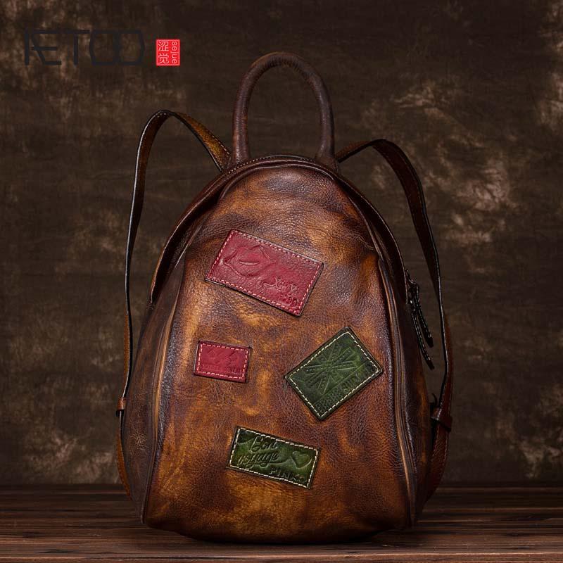 Фотография AETOO  Handmade leather backpack Personality bags hand-wiped retro fashion women shoulder bag shoulder bag leather backpack