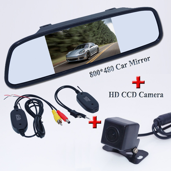 """New car parking camera 170 anlge plug+4.3"""" car  mirror balck +plastic shell receiving and transmitting  use for all cars"""