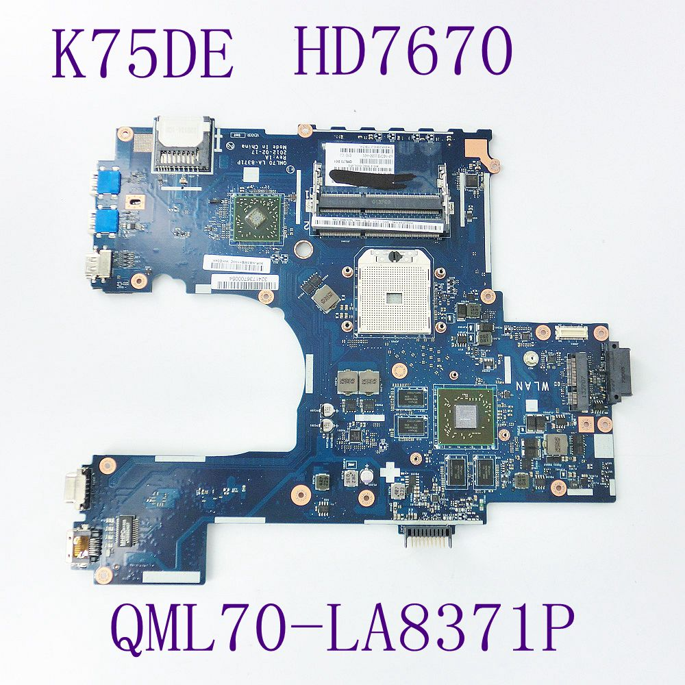 K75DE QML70 LA-8371P HD7670M Mainboard For ASUS K75D K75DE Laptop motherboard 60-NB3MB1100-A01 100% fully tested free shipping k73ta for asus k73t x73t k73ta k73tk r73t latop motherboard rev 1a qbl70 la 7553p hd7670m 1gb mainboard 100% tested ok