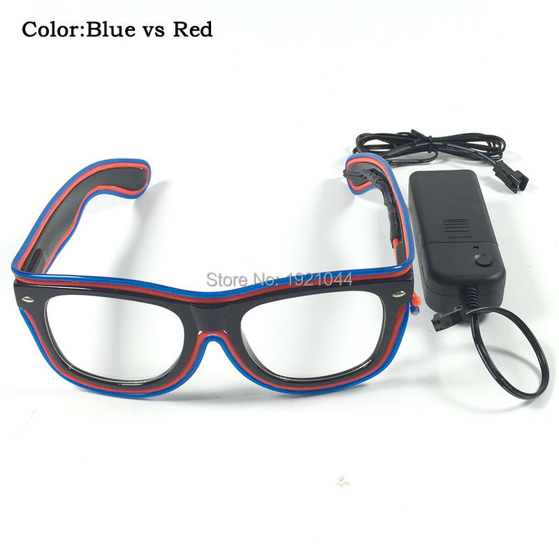 LED EL Wire Sunglasses Neon Light up Glasses Blue vs Red Glowing Glasses with DC-3V Sound activated Driver