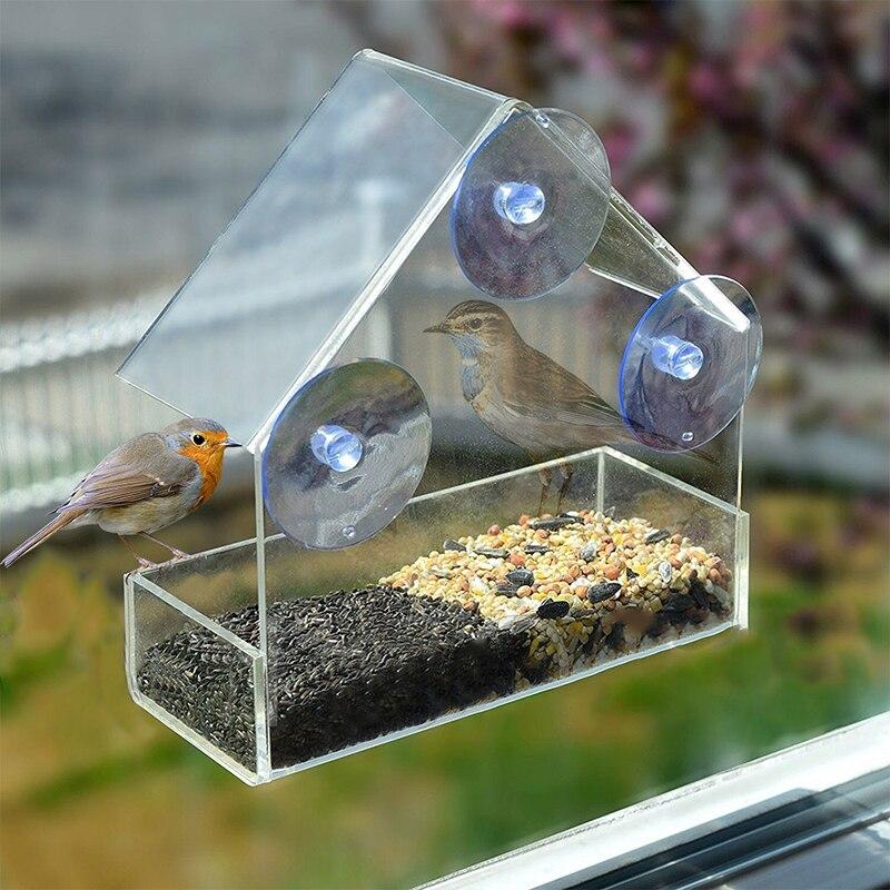 Alimentação de aves aparelho de sucção pendurado adsorção alimentador tipo casa vidro claro janela pássaro mesa alimentador saudável materiais
