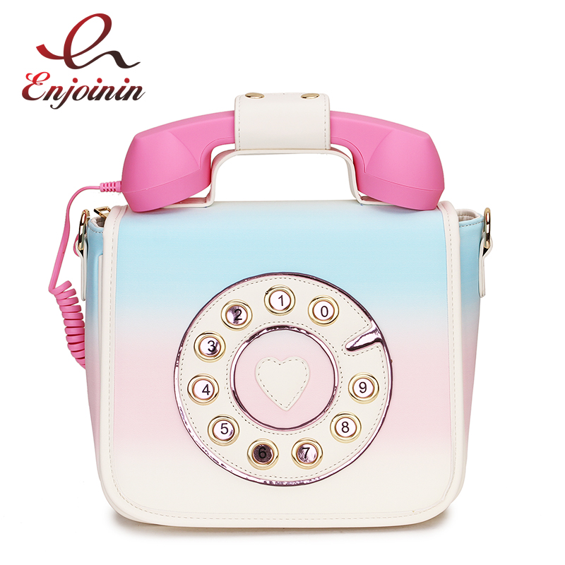 Trendy Phone Design Gradient Color Pu Female Shoulder Bag Tote Crossbody Messenger Bag For Women Casual Handbag Bolsa Purse Flap