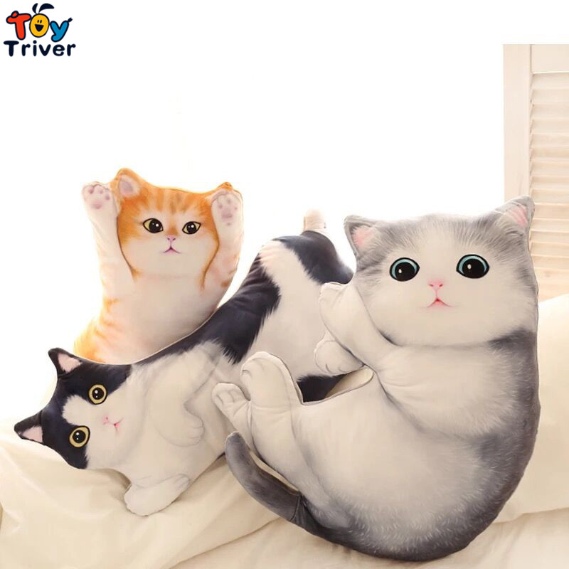 70cm Cute Simulated Plush Cat Toy Stuffed Sleeping Baby Doll Cats Pillow Cushion Home Shop Decoration Kids Birthday Gift Triver hot bear doll plush pendant stuffed animal plush toy home decoration for baby pillow kids birthday christmas gift 2017 new