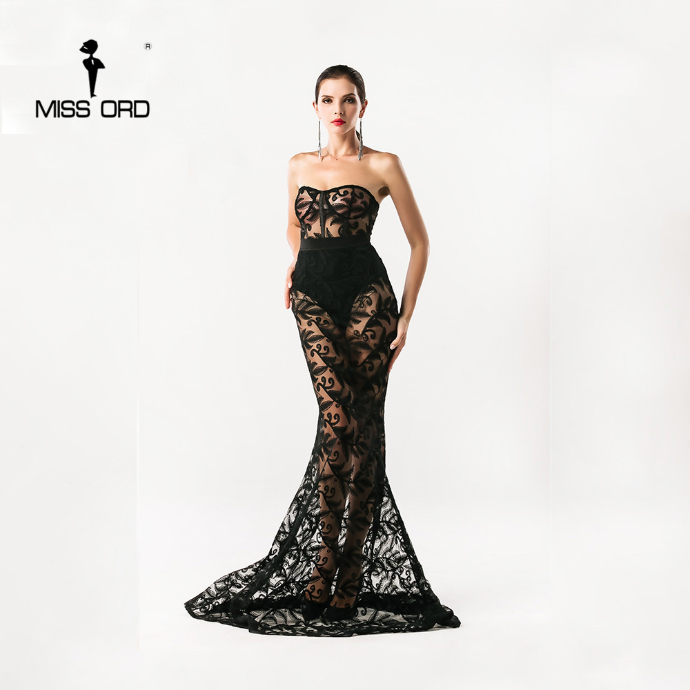 Free shipping Missord 2018 Sexy Bra sexy lace stitching maxi party dress floor-length dress FT4392