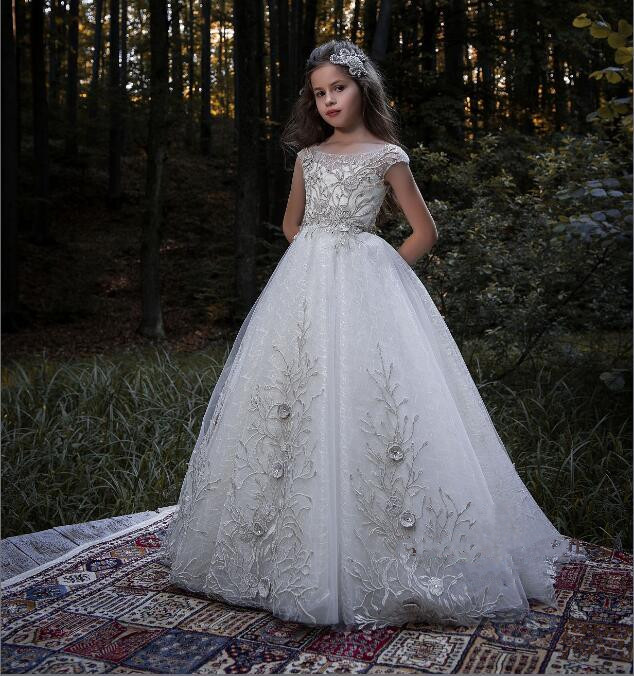 Luxury Flower Girl Dress Beaded 3D Appliques Tulle Ball Gown Pageant Gowns with Tiered Vestidos Longo New 0 16Y