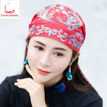 Ethnic style embroidered hat ladies headscarf cotton and linen vintage baotou