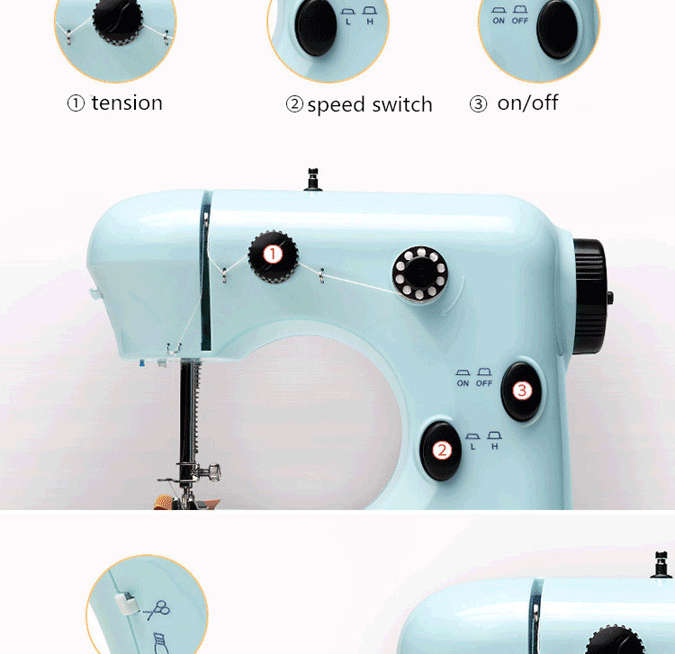 Beautiful Portable Mini Sewing Machine Hand Foot Double Thread Simple Portable Mini Sewing Machine